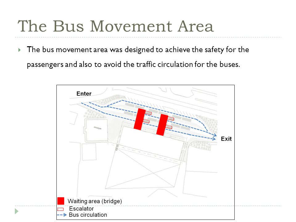 The Bus Movement Area The bus movement area was designed to achieve the safety for the passengers and also to avoid the traffic circulation for the buses.