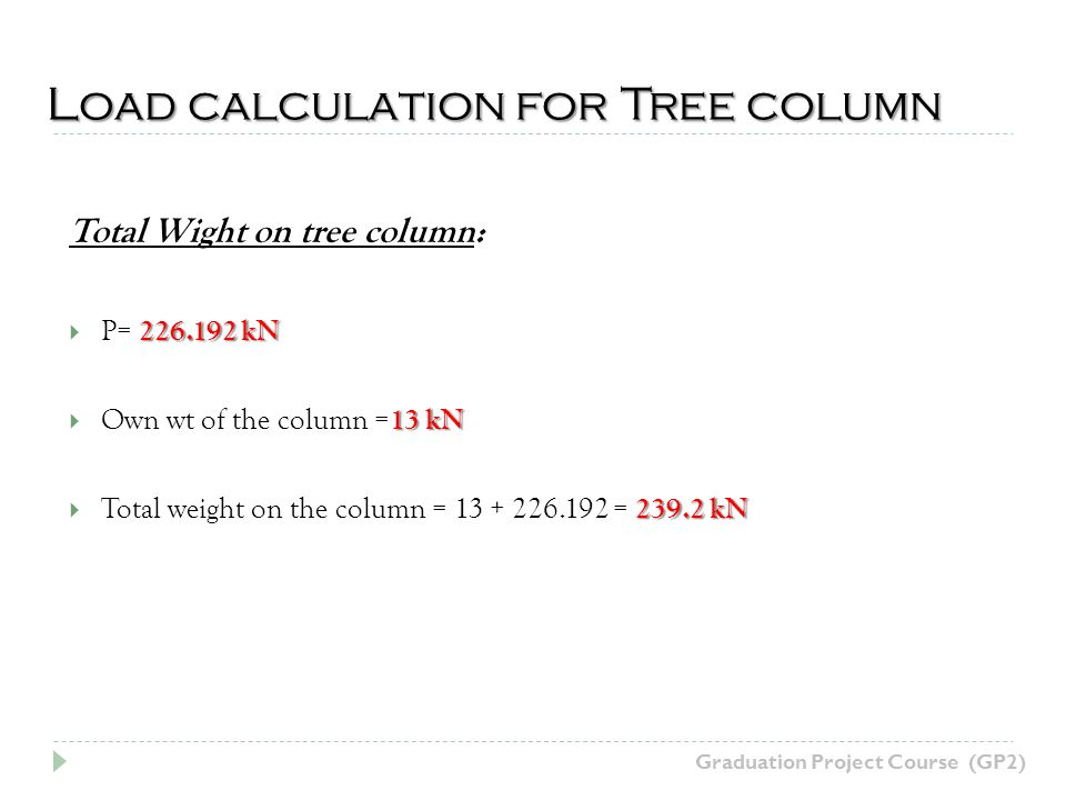 Load calculation for Tree column Graduation Project Course (GP2) Total Wight on tree column: 226.192 kN P= 226.192 kN 13 kN Own wt of the column = 13 kN 239.2 kN Total weight on the column = 13 + 226.192 = 239.2 kN