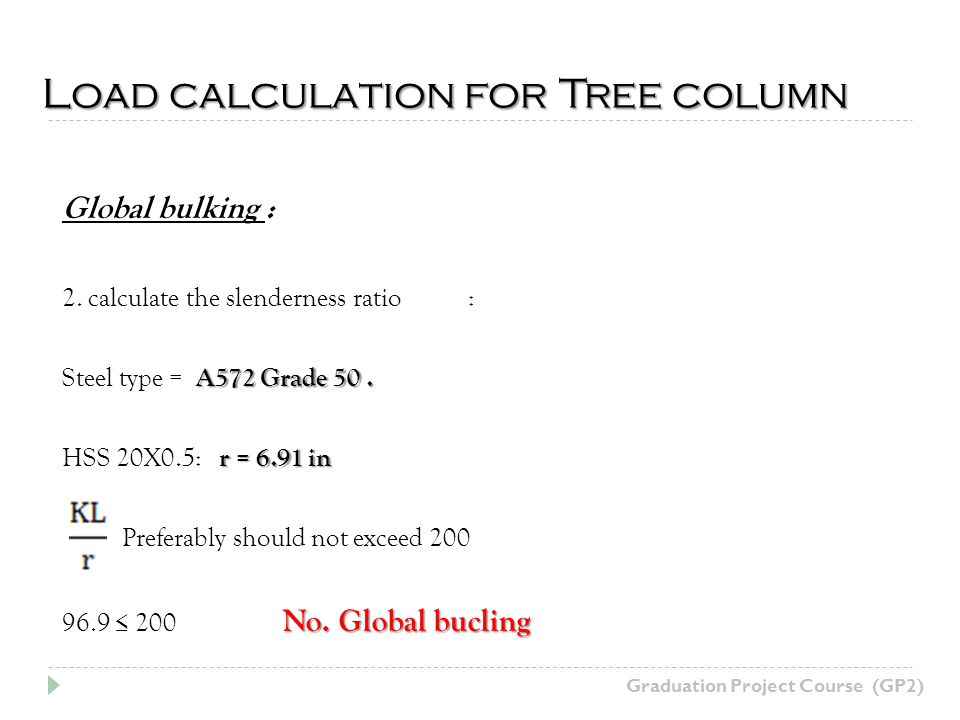 Load calculation for Tree column Graduation Project Course (GP2) Global bulking : 2.