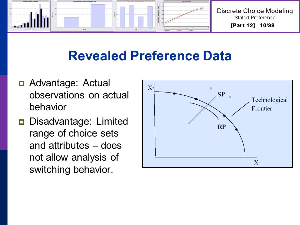 [Part 12] 10/38 Discrete Choice Modeling Stated Preference Revealed Preference Data Advantage: Actual observations on actual behavior Disadvantage: Li