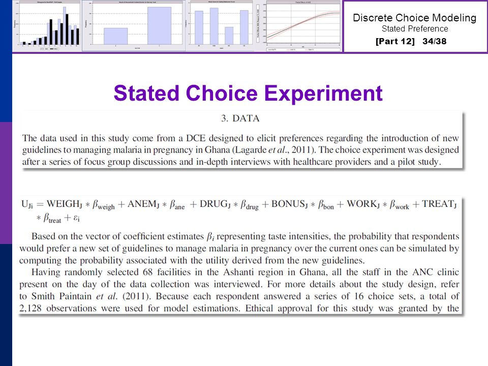 [Part 12] 34/38 Discrete Choice Modeling Stated Preference Stated Choice Experiment