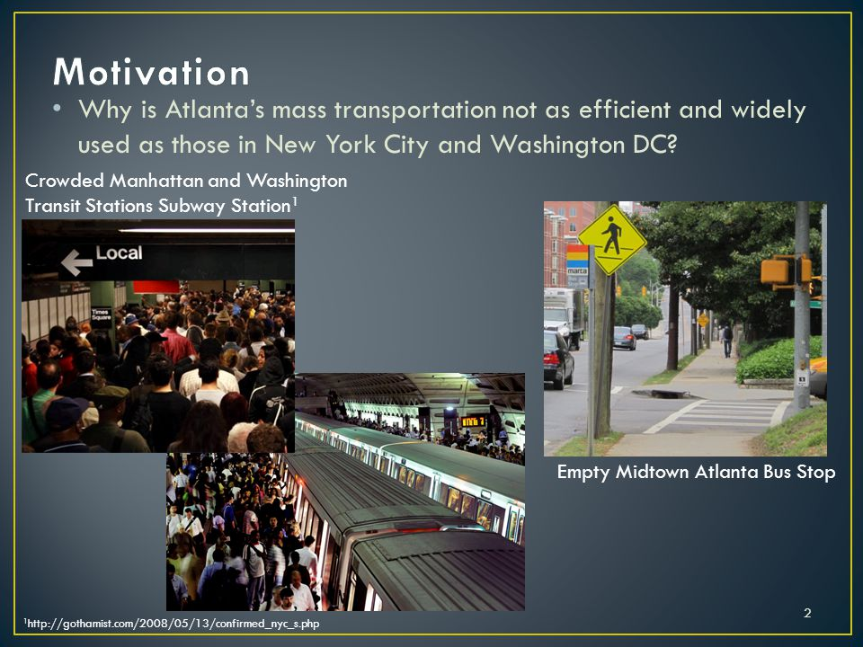 Why is Atlantas mass transportation not as efficient and widely used as those in New York City and Washington DC.