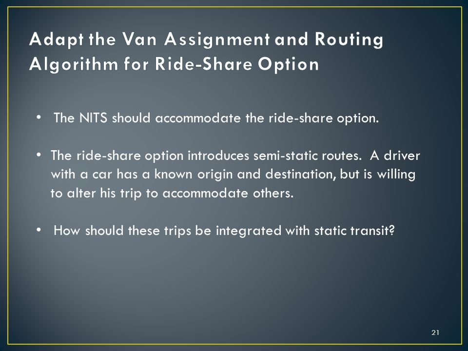 The NITS should accommodate the ride-share option.