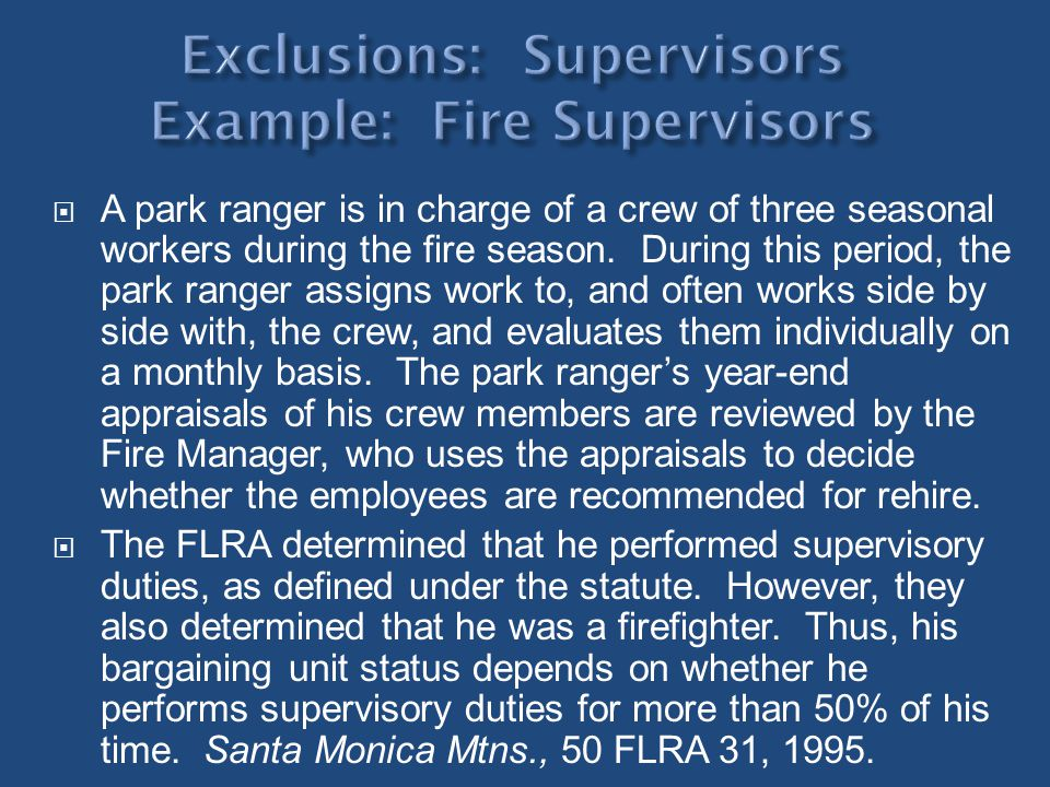 A park ranger is in charge of a crew of three seasonal workers during the fire season. During this period, the park ranger assigns work to, and often