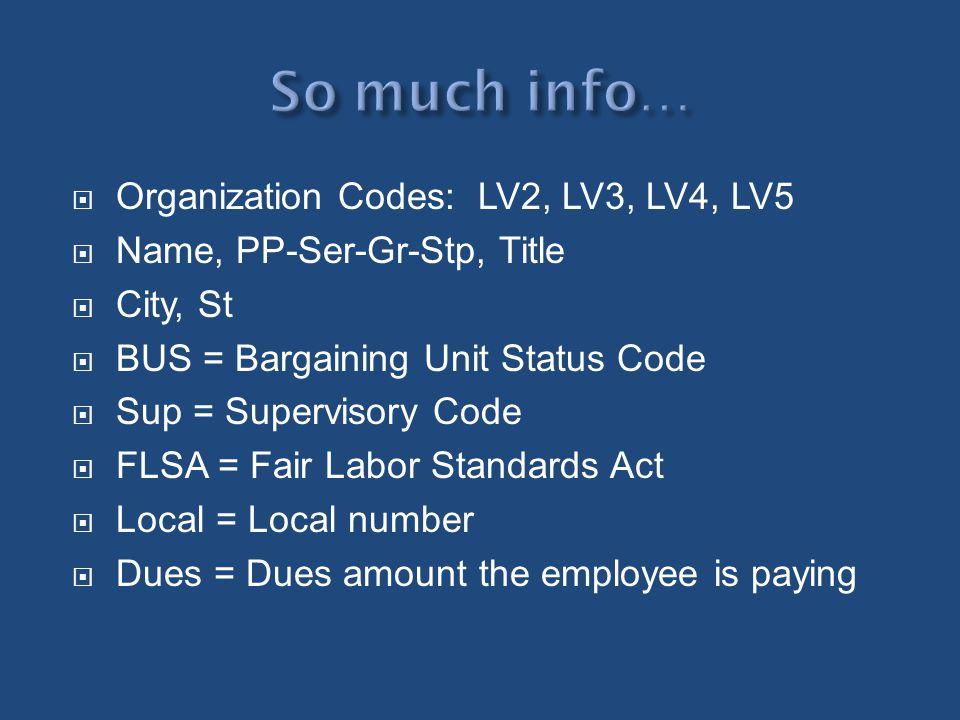 Organization Codes: LV2, LV3, LV4, LV5 Name, PP-Ser-Gr-Stp, Title City, St BUS = Bargaining Unit Status Code Sup = Supervisory Code FLSA = Fair Labor
