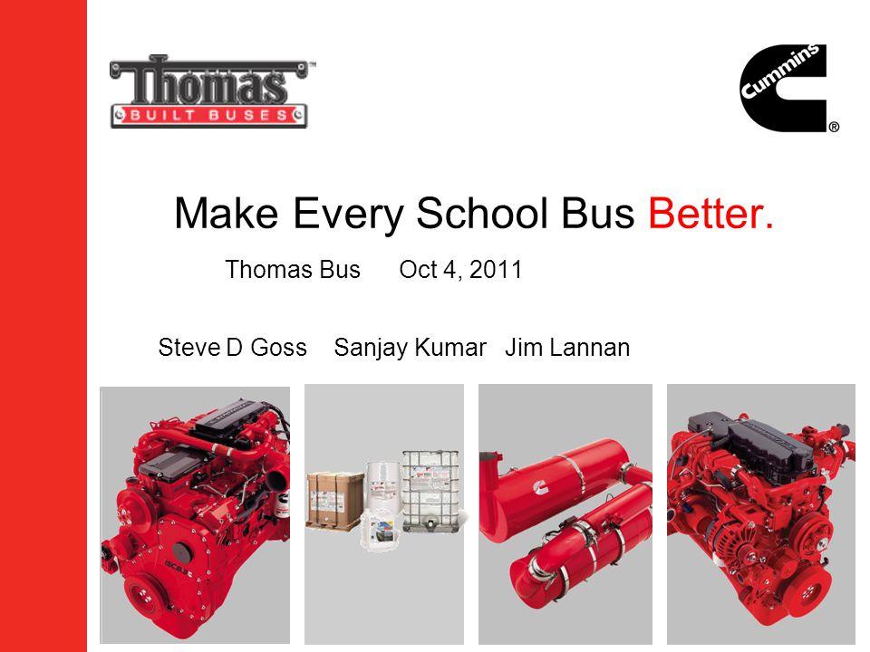 Make Every School Bus Better. Thomas BusOct 4, 2011 Steve D Goss Sanjay Kumar Jim Lannan