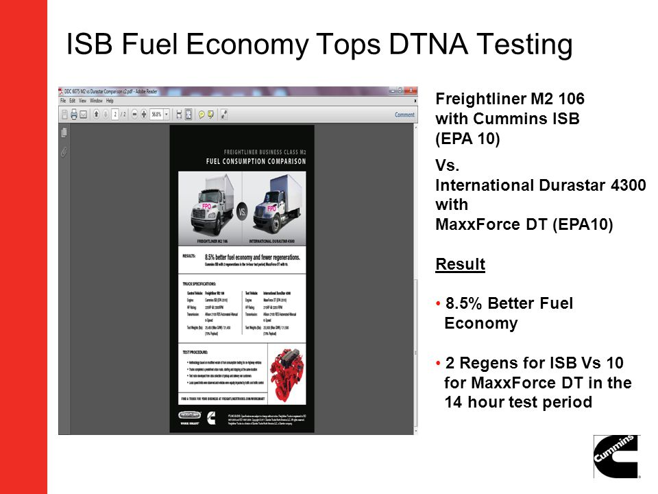 ISB Fuel Economy Tops DTNA Testing Freightliner M2 106 with Cummins ISB (EPA 10) Vs. International Durastar 4300 with MaxxForce DT (EPA10) Result 8.5%
