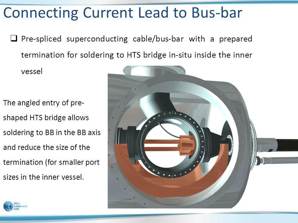 Connecting Current Lead to Bus-bar Pre-spliced superconducting cable/bus-bar with a prepared termination for soldering to HTS bridge in-situ inside th