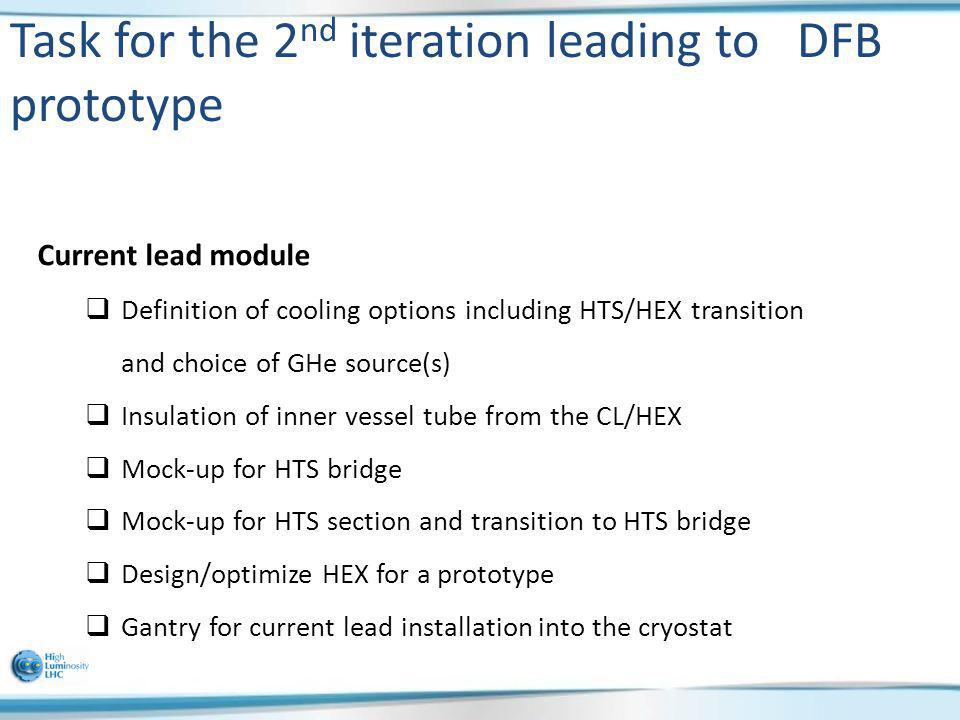 Task for the 2 nd iteration leading to DFB prototype Current lead module Definition of cooling options including HTS/HEX transition and choice of GHe
