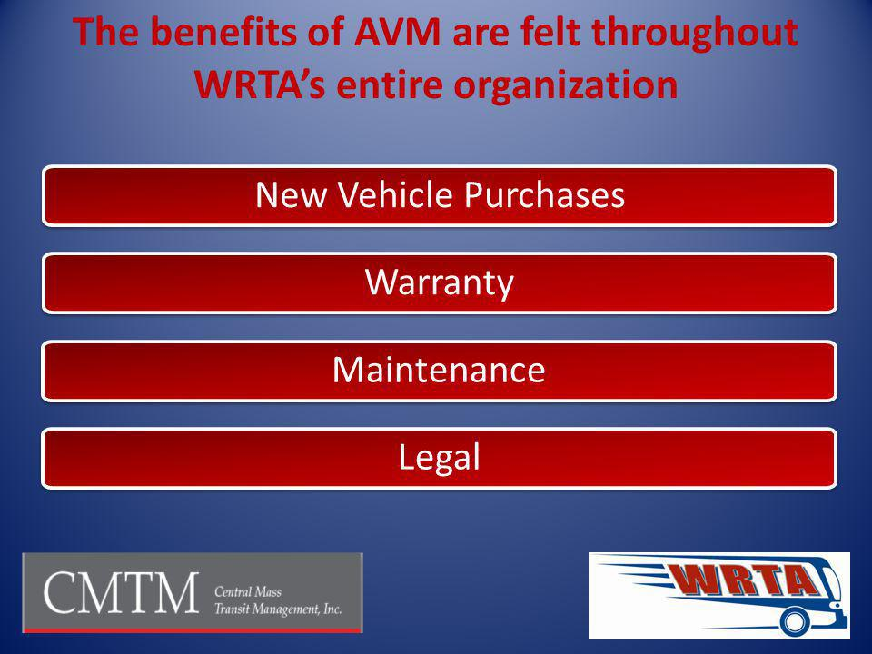 The benefits of AVM are felt throughout WRTAs entire organization New Vehicle Purchases Warranty Maintenance Legal