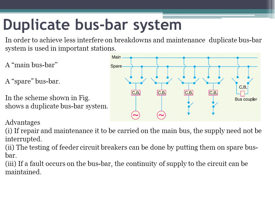 Duplicate bus-bar system In order to achieve less interfere on breakdowns and maintenance duplicate bus-bar system is used in important stations. A ma