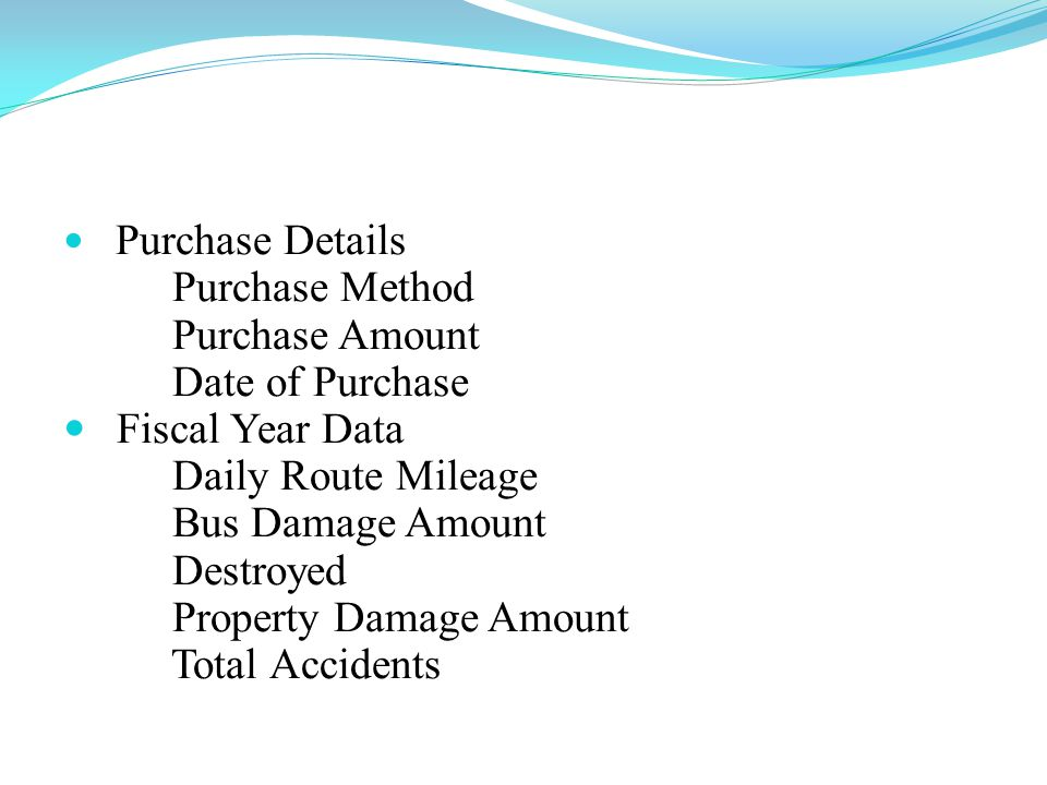 Purchase Details Purchase Method Purchase Amount Date of Purchase Fiscal Year Data Daily Route Mileage Bus Damage Amount Destroyed Property Damage Amount Total Accidents