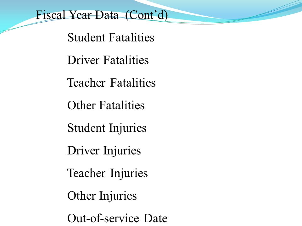Fiscal Year Data (Contd) Student Fatalities Driver Fatalities Teacher Fatalities Other Fatalities Student Injuries Driver Injuries Teacher Injuries Ot