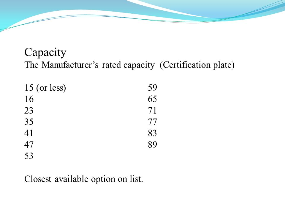 Capacity The Manufacturers rated capacity (Certification plate) 15 (or less) 59 16 65 23 71 35 77 41 83 47 89 53 Closest available option on list.