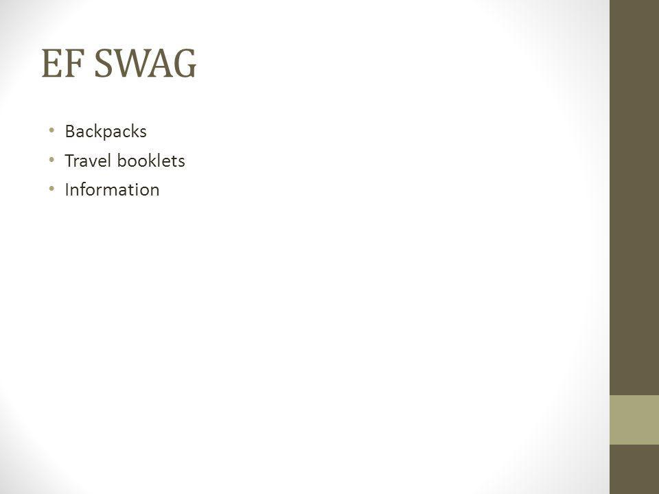 EF SWAG Backpacks Travel booklets Information