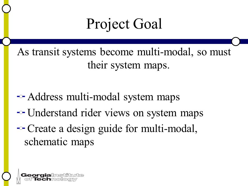 Project Goal As transit systems become multi-modal, so must their system maps.
