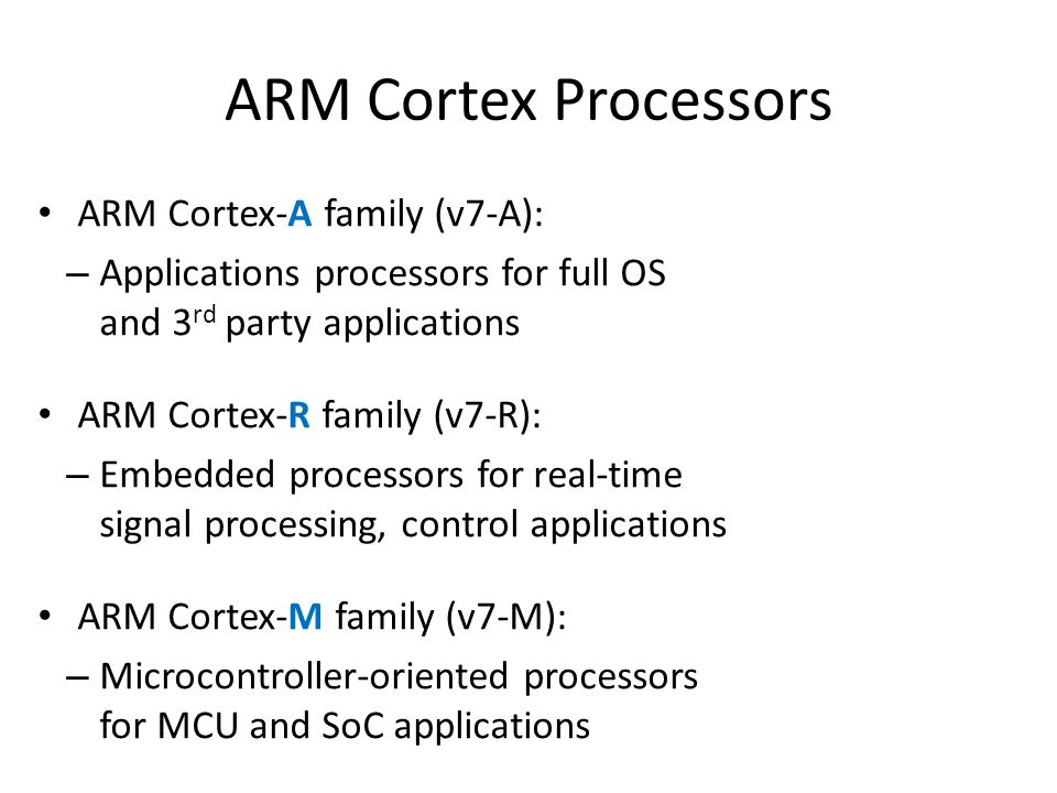 ARM Cortex Processors ARM Cortex-A family (v7-A): – Applications processors for full OS and 3 rd party applications ARM Cortex-R family (v7-R): – Embedded processors for real-time signal processing, control applications ARM Cortex-M family (v7-M): – Microcontroller-oriented processors for MCU and SoC applications