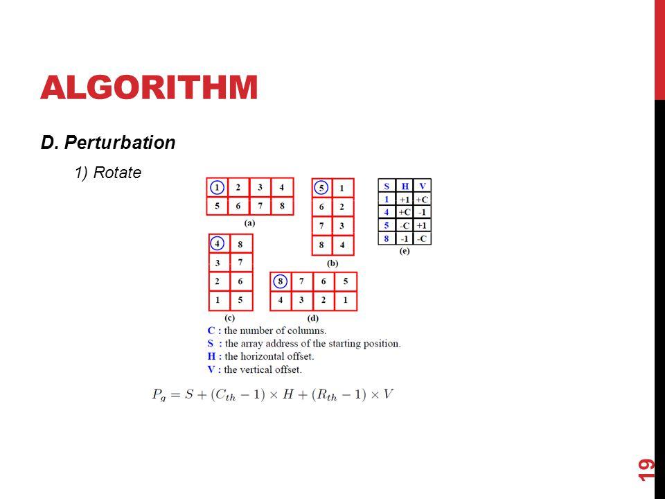 ALGORITHM D. Perturbation 19 1) Rotate