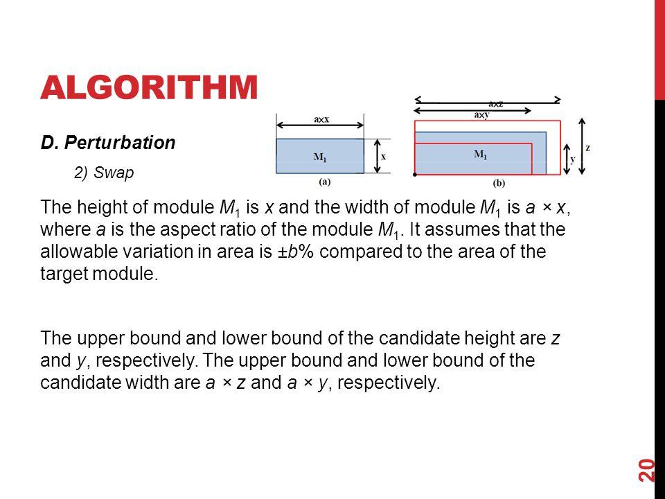 ALGORITHM D. Perturbation The height of module M 1 is x and the width of module M 1 is a × x, where a is the aspect ratio of the module M 1. It assume