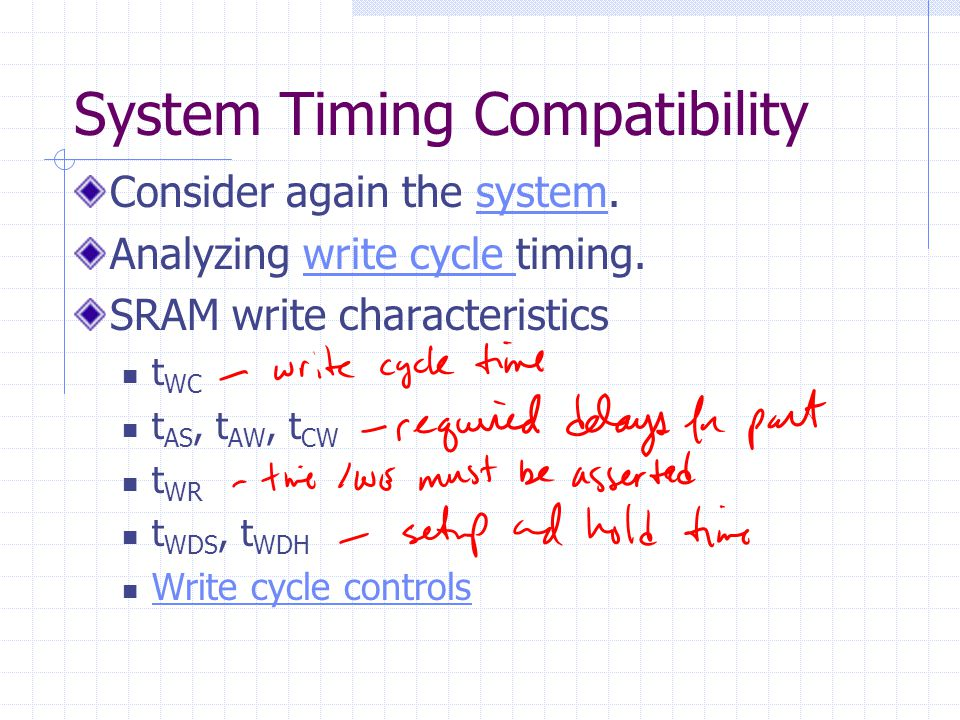 System Timing Compatibility Consider again the system.system Analyzing write cycle timing.write cycle SRAM write characteristics t WC t AS, t AW, t CW t WR t WDS, t WDH Write cycle controls