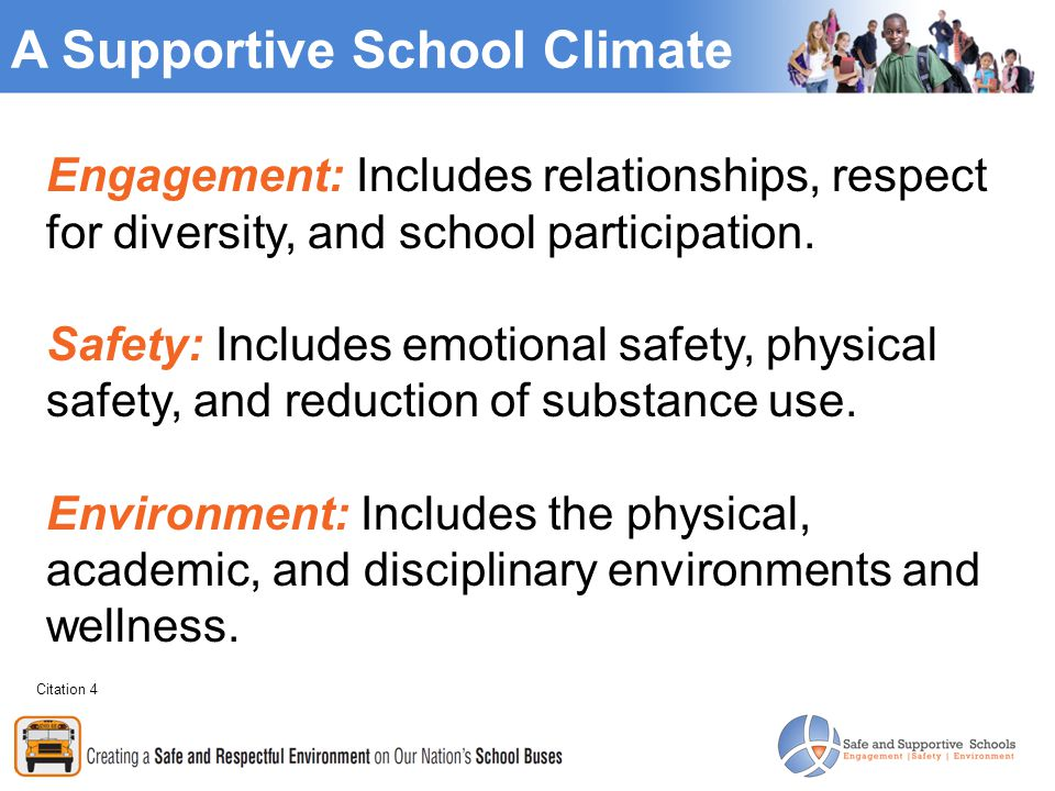 A Supportive School Climate Engagement: Includes relationships, respect for diversity, and school participation.