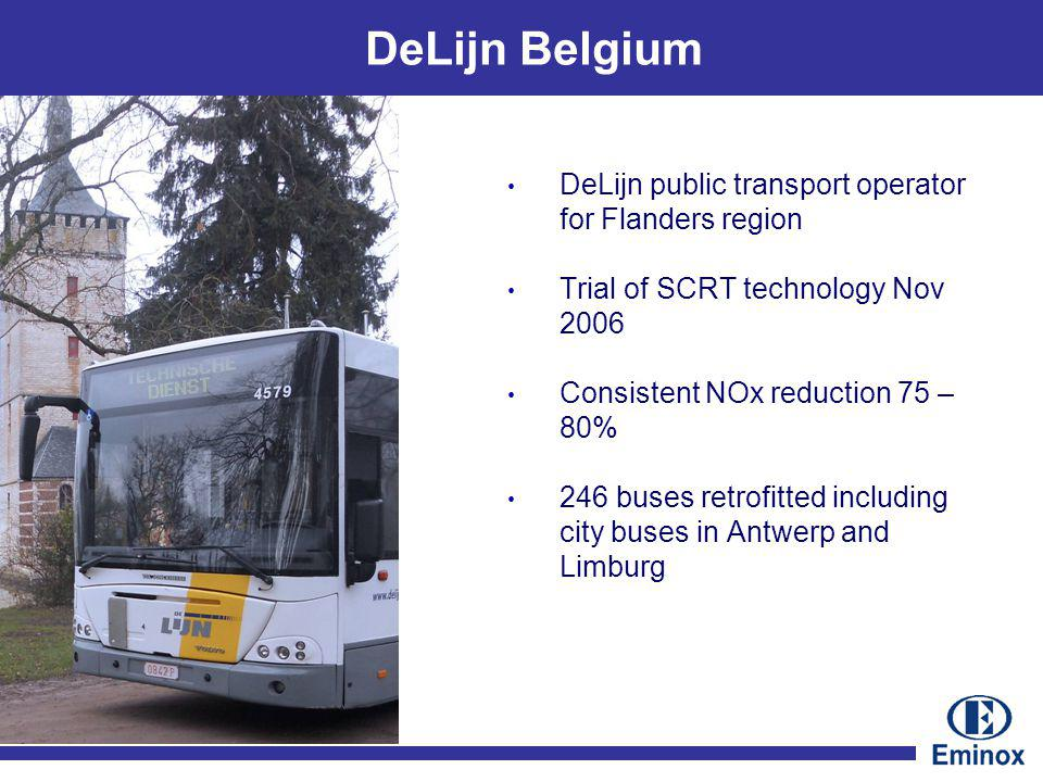 DeLijn Belgium DeLijn public transport operator for Flanders region Trial of SCRT technology Nov 2006 Consistent NOx reduction 75 – 80% 246 buses retrofitted including city buses in Antwerp and Limburg