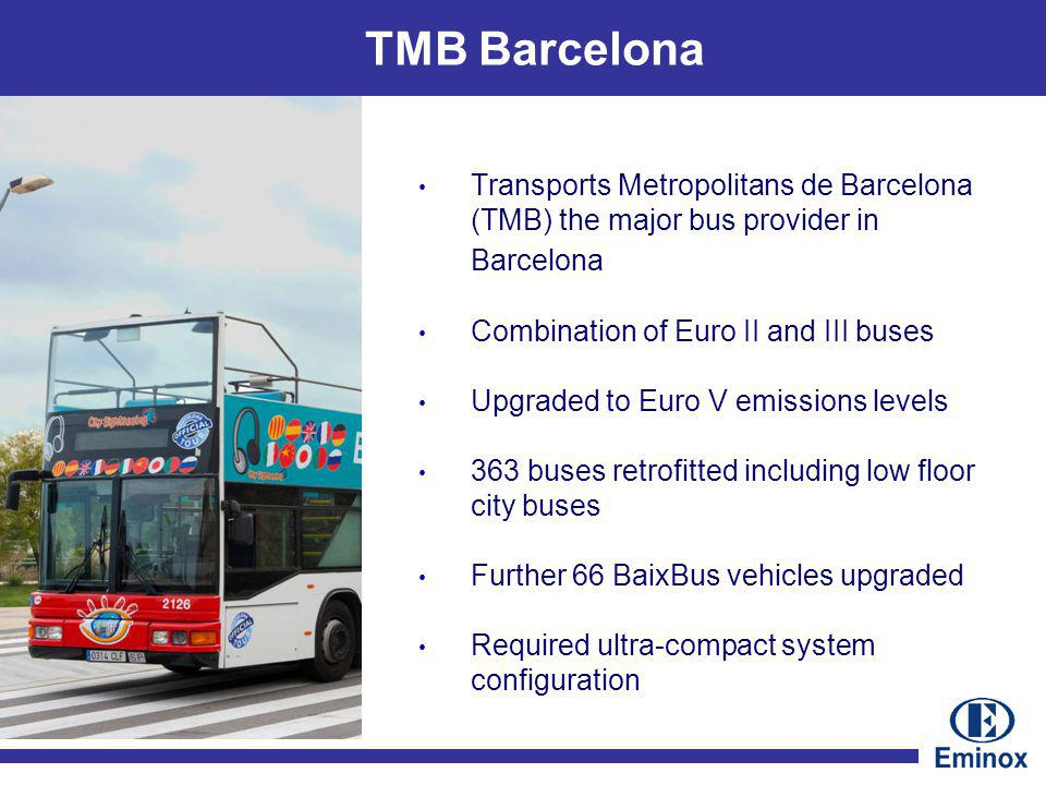 TMB Barcelona Transports Metropolitans de Barcelona (TMB) the major bus provider in Barcelona Combination of Euro II and III buses Upgraded to Euro V