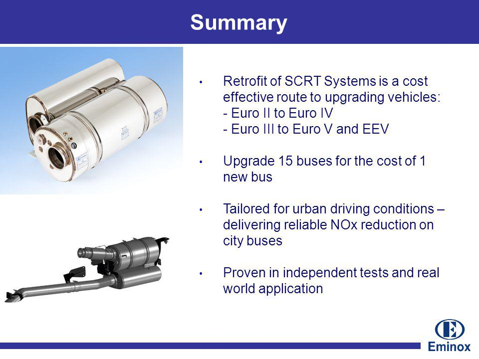 Retrofit of SCRT Systems is a cost effective route to upgrading vehicles: - Euro II to Euro IV - Euro III to Euro V and EEV Upgrade 15 buses for the cost of 1 new bus Tailored for urban driving conditions – delivering reliable NOx reduction on city buses Proven in independent tests and real world application Summary