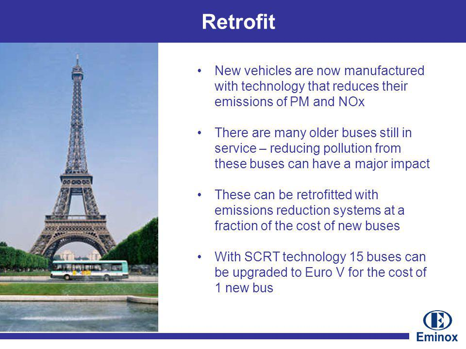 Retrofit New vehicles are now manufactured with technology that reduces their emissions of PM and NOx There are many older buses still in service – reducing pollution from these buses can have a major impact These can be retrofitted with emissions reduction systems at a fraction of the cost of new buses With SCRT technology 15 buses can be upgraded to Euro V for the cost of 1 new bus