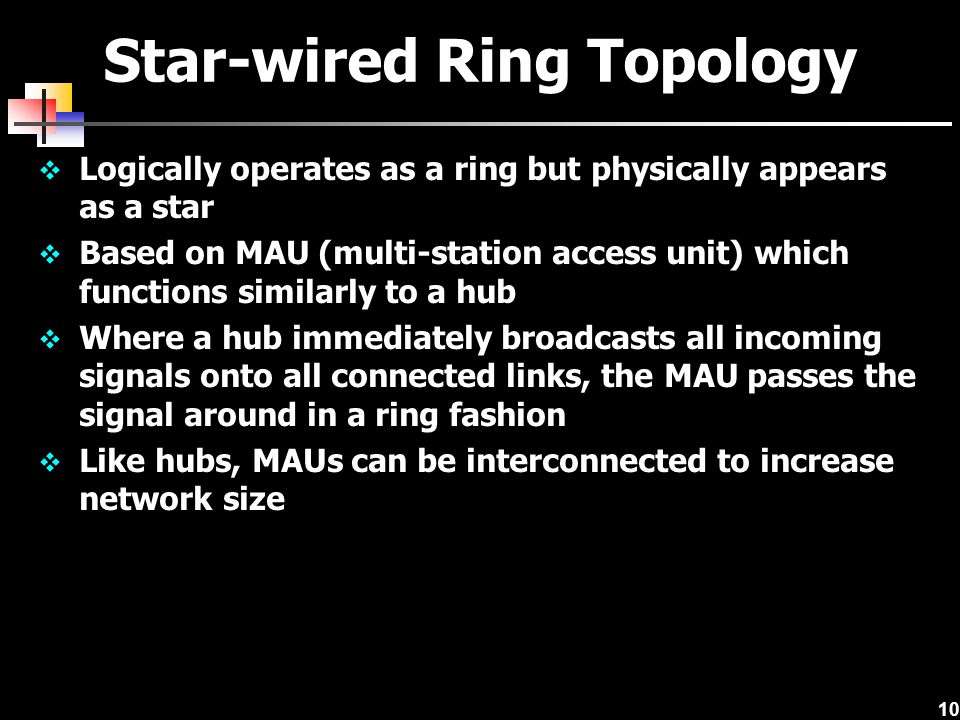 10 Star-wired Ring Topology Logically operates as a ring but physically appears as a star Based on MAU (multi-station access unit) which functions sim