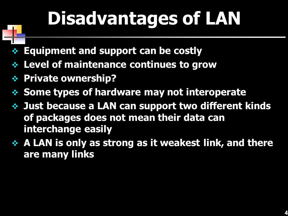 35 Bridges Connect two similar LANs, such as two CSMA/CD LANs.