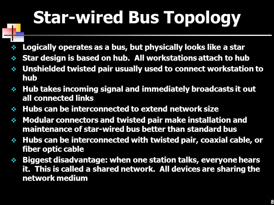 8 Star-wired Bus Topology Logically operates as a bus, but physically looks like a star Star design is based on hub. All workstations attach to hub Un