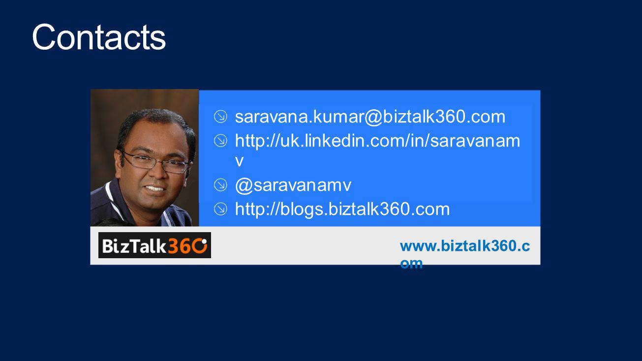 saravana.kumar@biztalk360.com http://uk.linkedin.com/in/saravanam v @saravanamv http://blogs.biztalk360.com www.biztalk360.c om