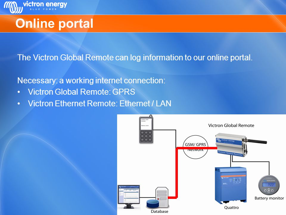 Online portal The Victron Global Remote can log information to our online portal. Necessary: a working internet connection: Victron Global Remote: GPR