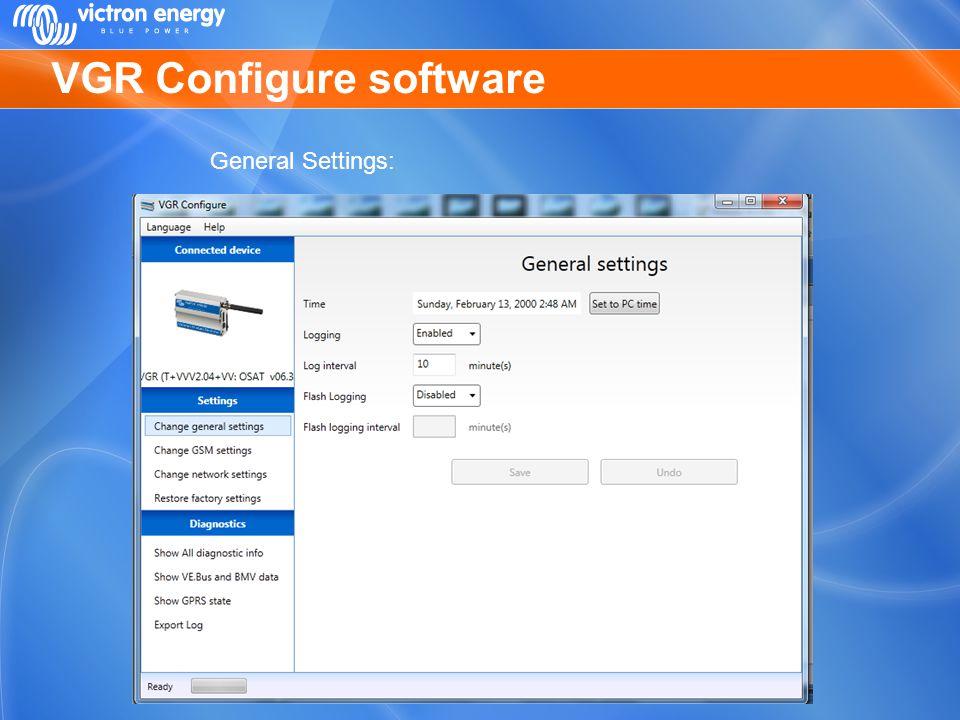 VGR Configure software General Settings: