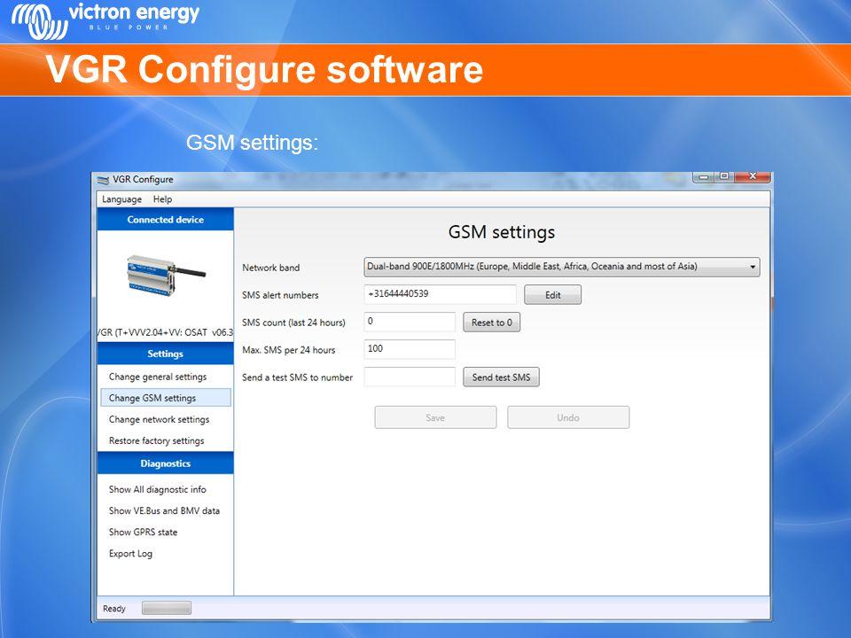 VGR Configure software GSM settings: