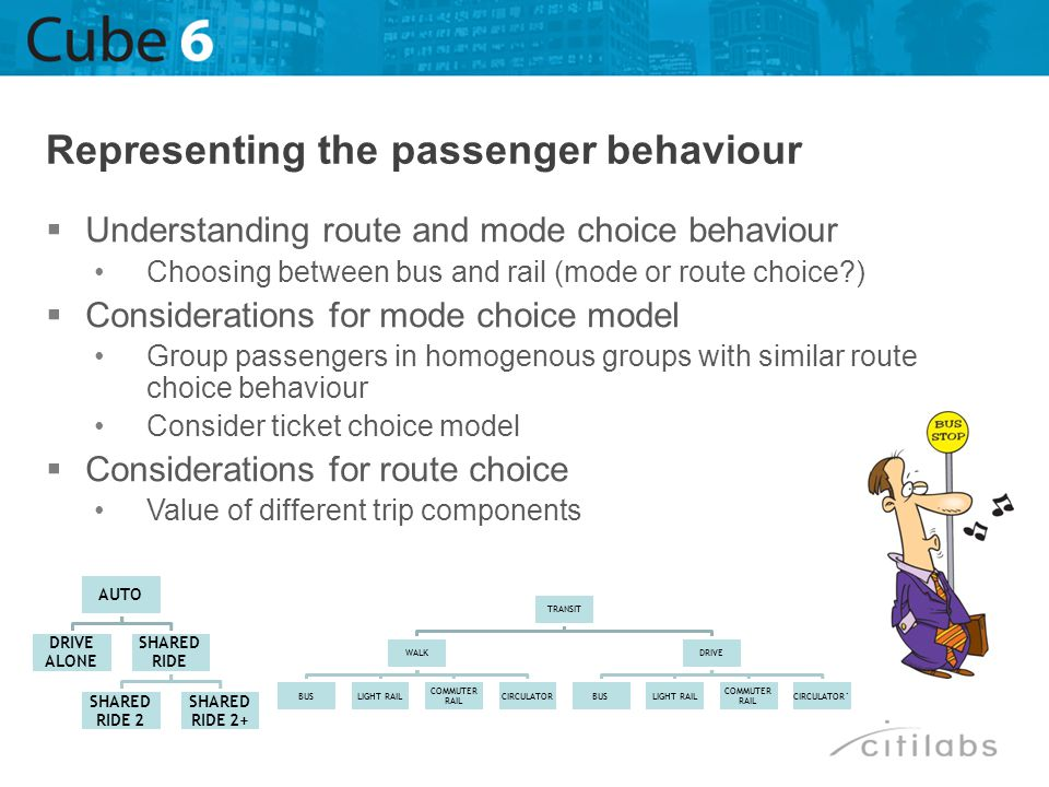 Understanding route and mode choice behaviour Choosing between bus and rail (mode or route choice?) Considerations for mode choice model Group passeng