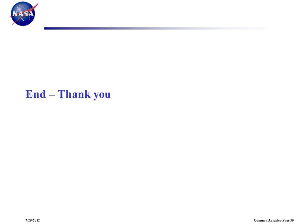 Common Avionics- Page 357/25/2012 End – Thank you