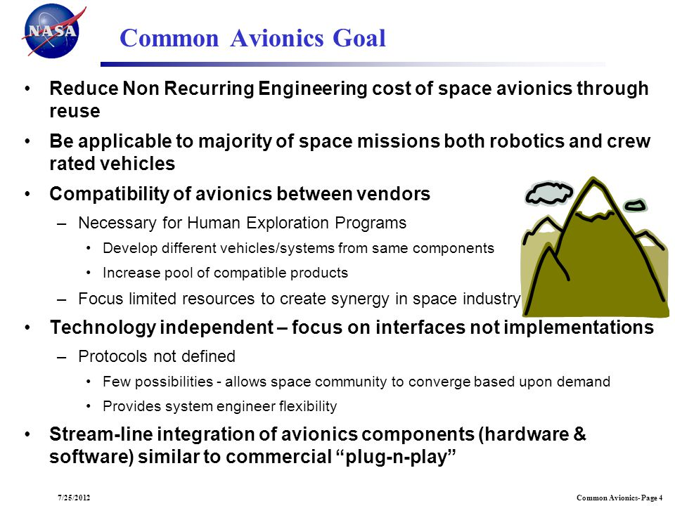 Common Avionics- Page 47/25/2012 Common Avionics Goal Reduce Non Recurring Engineering cost of space avionics through reuse Be applicable to majority