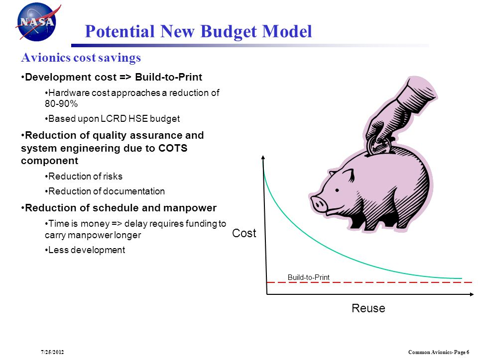 Common Avionics- Page 67/25/2012 Avionics cost savings Development cost => Build-to-Print Hardware cost approaches a reduction of 80-90% Based upon LC