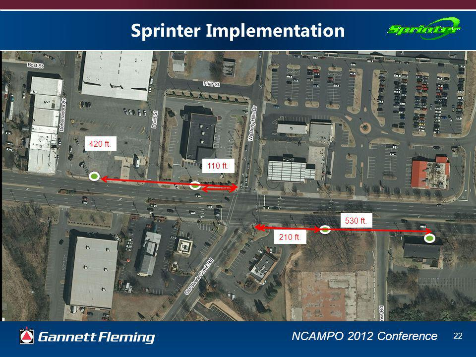 NCAMPO 2012 Conference 22 Sprinter Implementation 110 ft. 210 ft. 420 ft. 530 ft.