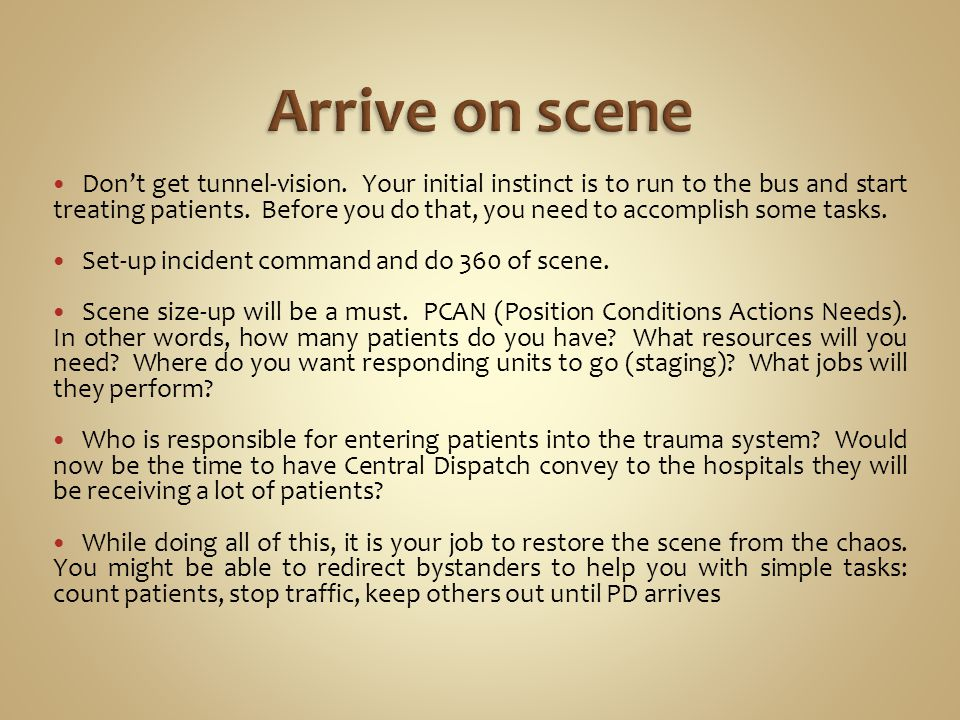 Dont get tunnel-vision. Your initial instinct is to run to the bus and start treating patients.