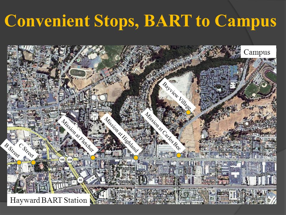Convenient Stops, BART to Campus Hayward BART Station B Street Mission at Fletcher C Street Mission at Highland Mission at Carlos Bee Bayview Village