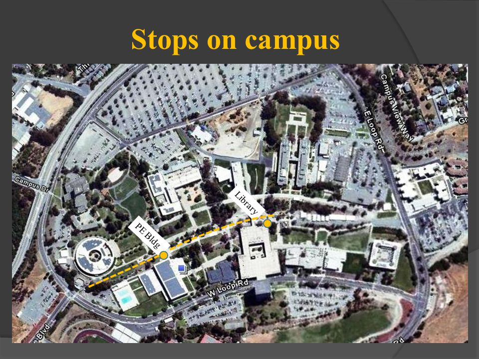 Stops on campus PE Bldg Library