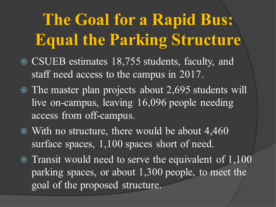 The Goal for a Rapid Bus: Equal the Parking Structure CSUEB estimates 18,755 students, faculty, and staff need access to the campus in 2017.