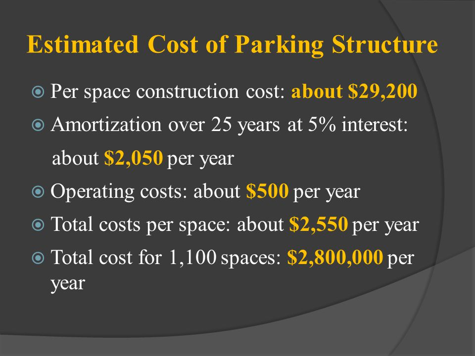 Estimated Cost of Parking Structure Per space construction cost: about $29,200 Amortization over 25 years at 5% interest: about $2,050 per year Operat