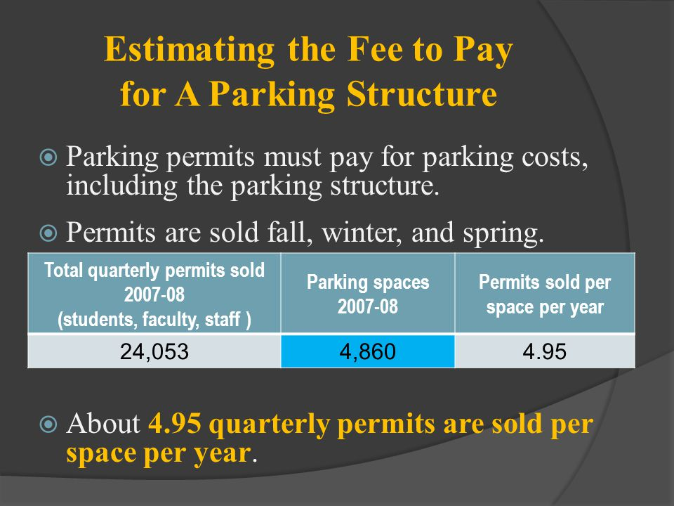 Estimating the Fee to Pay for A Parking Structure Parking permits must pay for parking costs, including the parking structure. Permits are sold fall,