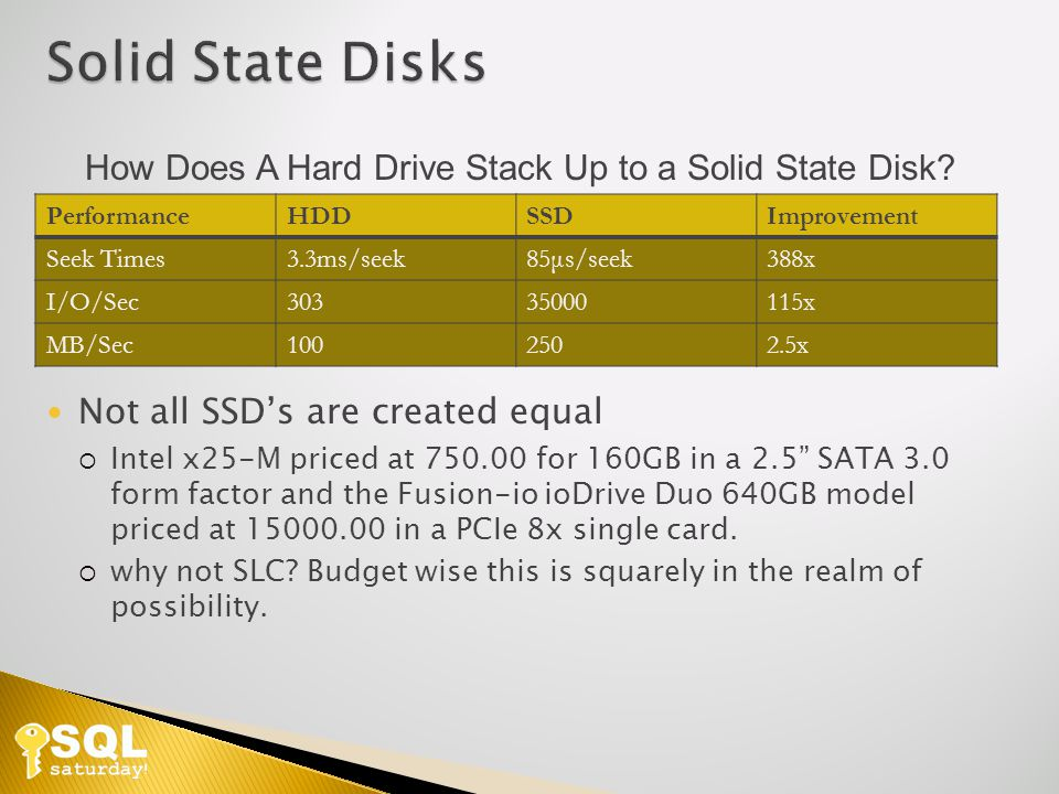PerformanceHDDSSDImprovement Seek Times3.3ms/seek85μs/seek388x I/O/Sec30335000115x MB/Sec1002502.5x How Does A Hard Drive Stack Up to a Solid State Disk.