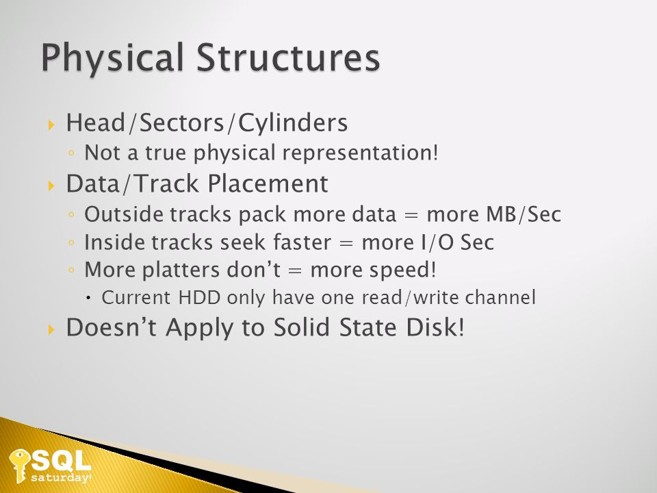 Head/Sectors/Cylinders Not a true physical representation.