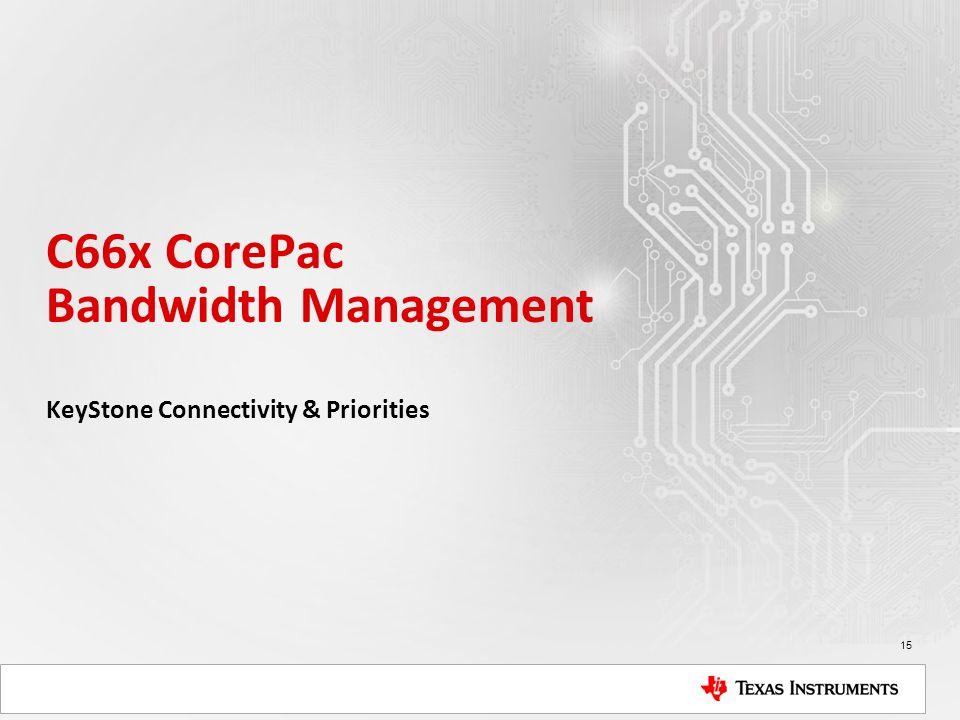 C66x CorePac Bandwidth Management KeyStone Connectivity & Priorities 15